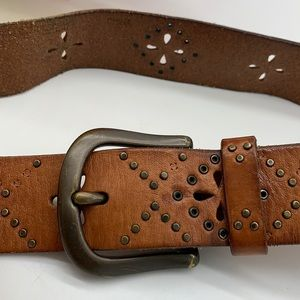 Fossil Brown Leather Cut Out Belt - Size M